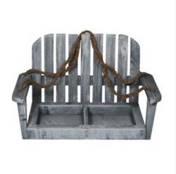 Laver en bois gris fauteuil suspendu du semoir avec deux pots