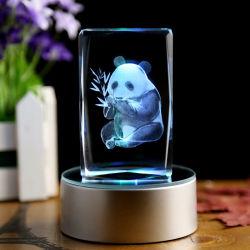 Artesanía de cristal con grabado láser 3D Animales Panda