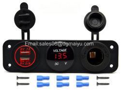 차 USB 충전기 + LED 전압계 + 출구 전원 소켓