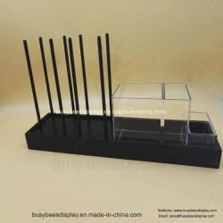 Vendas quente condimentos MDF Armazenar Expositor de rack com 3 Pequenas caixas de acrílico
