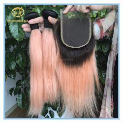 暗いルート膚触りがよいカラー速い配達Cwf-001のロシアの毛の束との高品質のピンク
