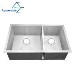 Bol Aquacubic UPC double évier de cuisine à la main en acier inoxydable (ACS 3322A2)