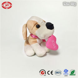 Heart를 가진 발렌타인 Plush Sitting Soft Dog Stuffed Cute Toy