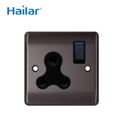Hailar estándar británico de níquel negro pulido 15 A 1 Módulo de toma de pared Round-Pin conmutado