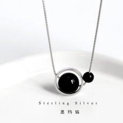 925 の銀製の幾何学的なリングの黒い Agate のネックレスの方法鎖の宝石類