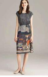 100%Silk Cdc Digital Customized Print Ladies Dress, Women Skirt