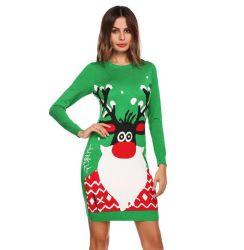 Рождество зеленый женщина вязание свитер/свитер платье для женщин