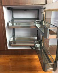 Cestino di alluminio ad alto livello di vetro dell'armadio da cucina della cremagliera di memoria dell'acciaio inossidabile