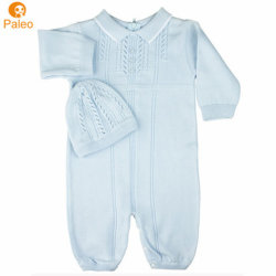 Hersteller-kundenspezifischer voller BaumwollePointelle Knit-Baby-Großhandelsspielanzug eingestellt mit Hut