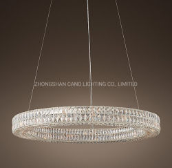 Matériel de restauration de grand luxe européen moderne Anneau rond lustre en cristal