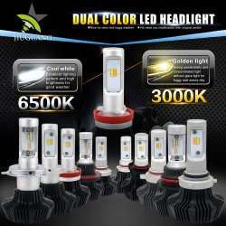 Zweifarbiges Wechselband, Lüfterlos, Abblendlicht, 7 hl-T H7 H11, Auto-LED, Autoleuchte
