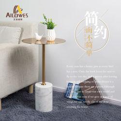 Mobiliário de Sala Ouro metálicas de aço inoxidável do lado da base de mármore ao redor da mesa de chá