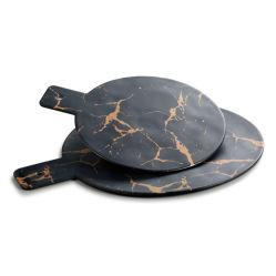 11 بوصة سوداء معدنيّة زهرة ميلامين صينيّة مستديرة