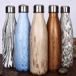 Edelstahl-Wasser-Flasche hölzernes Pantern, Sport-Metallkolabaum-trinkende Flasche einzeln/doppel-wandig