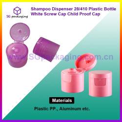 Plastikflaschen-weiße Überwurfmutter-Kind-Beweis-Schutzkappe der Shampoo-Zufuhr-28/410