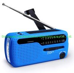 Muy útil la Preparación para Emergencias dínamo solar portátil de Manivela AM FM Sw Mini mundo de la NOAA viento receptor de radio con la 3pcs super linterna LED alarma