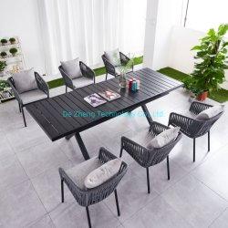 높이 조절 모든 알루미늄 나무 피크닉 테이블 및 의자 휴대용 캠핑 알루미늄 사각형 버프 테이블 세트