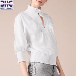 Baumwolle 100% der Frauen 3/4 Längen-Hülsen-kleine hohe Muffe V geschnitten und Taillen-Entwurfs-klassische Blusen-Form-Oberseite für Damen