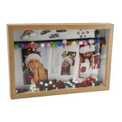 Maschera di legno di natale di attaccatura di parete del blocco per grafici della foto di Pampon della clip del regalo di natale