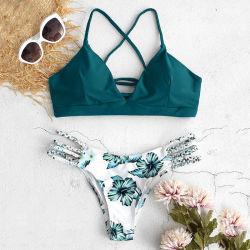 Detalhes de laços Design Swimsuit Mulher Sexi calções de banho Triangle Bikini