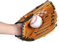 Het embleem drukte de Bruine Linkerhand van de Grootte van de Apparatuur van de Praktijk van het Softball van de Handschoen van het Honkbal 10.5/11.5/12.5 voor de Volwassen Opleiding van de Vrouw van de Man af