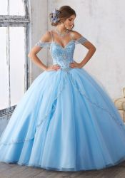 OFF Shoulder Blue Pink Wedding Dress Crystals Quinceanera Dress Ld15220