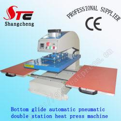 Unteres Gleiten-automatische Wärmeübertragung-Maschine CER Bescheinigung der Shirt-Drucken-Maschinen-pneumatisches doppeltes Station-Wärme-Presse-Maschinen-40*60cm