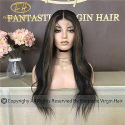Costom cinese Vergine / capelli Remy umano completo / zig pizzo frontale con Amazing Colore