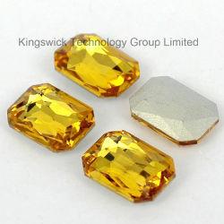 Pietre operate di cristallo di vetro posteriori aguzze del Topaz quadrato di figura