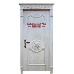 Белая ая роскошная высекая дверь Teak твердая деревянная (GSP2-080)