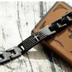 União e American Escritura jóias de aço titânio cruz preta bracelete com magnetita e Pedra de germânio jóias de Saúde