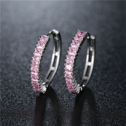 La Chine de gros de bijoux de mode de zircon cubique AAA pour la femme Hoop Earring Bijoux en laiton