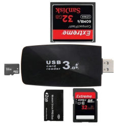 고속 SD/MMC/MS/CF/TF/Micro SD USB3.0 다기능 카드 리더기