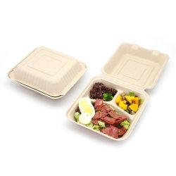 Comida descartáveis contentor caixa de embalagem de papel biodegradável/embalagem/armazenamento/embalagem/Lancheira Bagase Cana-de 8 polegadas 9 polegadas, 10 polegadas, 12 polegadas