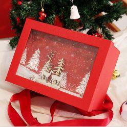Caixa de oferta de luxo madeira Embalagem Decoração de Natal Papel de árvore Eve Candy Calçados Dom