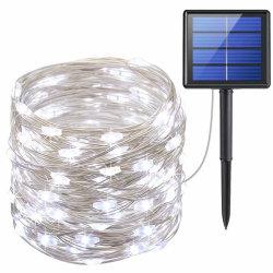 太陽ストリングは屋外を、200のLEDの太陽動力を与えられた豆電球冷却するテラスの庭のヤード党結婚式のための白い防水装飾的な照明をつける