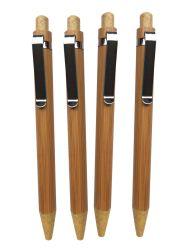 새겨진 로고를 가진 빛나는 크롬 이음쇠를 가진 대나무에 있는 선전용 누름단추식 전쟁 볼펜