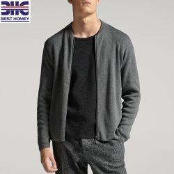 Мужские серый хлопок шелк трикотажных куртка на молнии Вязаная кофта свитер экипаж шеи длинными рукавами