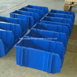 Opslagcontainer voor kleine onderdelen van kunststof uit magazijn stapelen