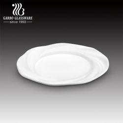 꽃 Shspe 장식적인 둥근 백색 세라믹 사기그릇 Handmade 식기 큰 접시 (TC23012195SFL)