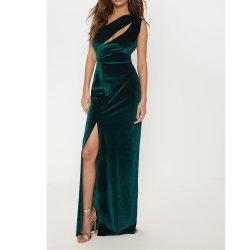 2021 여름 섹시한 에메랄드 그린 벨벳 한쪽 어깨 스플릿 레그 맥시 드레스 여성용 이브닝 드레스
