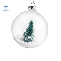 Decoração de vidro transparente artesanato bolas de ornamentos de Natal com Árvore de Natal no interior para os jovens que vivem