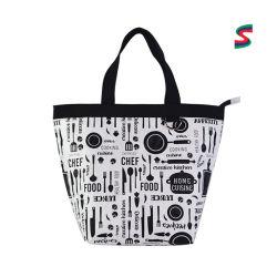 대용량 맞춤형 워드 프린트 여성 나일론 가방 접이식 쇼핑하기 위한 지퍼 핸드백