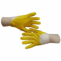 Grueso resistente de color amarillo dorado Industrial personalizados baratos 100% algodón recubierto de goma de nitrilo 3/4 de seguridad de la maquinaria trabajando mano personalizado con logo impreso Guantes Precio
