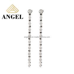 البيع بالجملة الحد الأدنى 925 الاسترليني فضة مجوهرات عصرية 18K الذهب Plated مسمار السلسلة الطويلة Zircon Earring