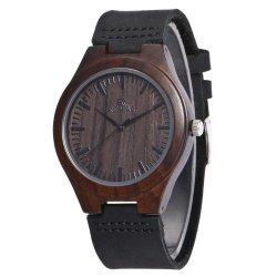 مصنع بالجملة رجال ساعة أسود جلد ساعة نمو وقت فراغ أسلوب ساعة خشبيّة