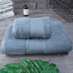 Conjuntos de toalha cinza 100% algodão Dom Luxo Lado Toalha de banho