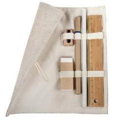 個人化された昇進のギフトによって分類される6PCSジュート及び綿の袋の筆箱の文房具セット