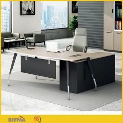 고급 오피스 가구 MFC 보드 이그제큐티브 보스 오피스 데스크 L자형 공장 설계 사무실 테이블