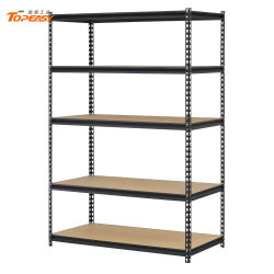 5 prateleiras em aço preto Rack Ajustável Garagem Prateleira de armazenamento Boltless Partículas Warehouse estantes rebite